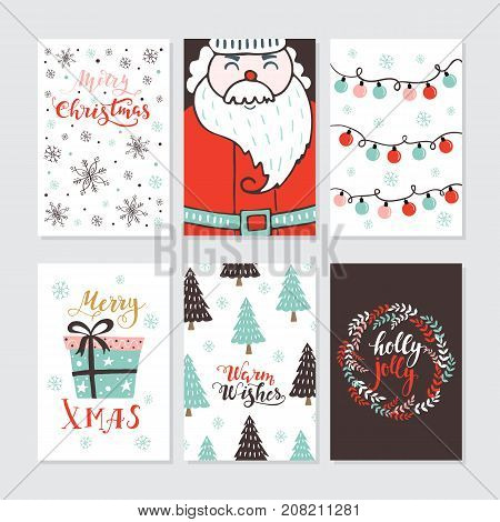 Vector Merry Christmas greeting cards and invitations  isolated on background. Set with cute xmas tree, gift and Santa hand drawn designs. Vector elements for Xmas design.