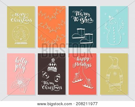 Vector Merry Christmas greeting cards and invitations  isolated on background. Set with cute snowman, bird and garland hand drawn designs. Vector elements for Xmas design.