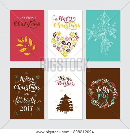 Vector Merry Christmas greeting cards and invitations isolated on background. Set with lettering, Xmas tree, mistletoe and wreath hand drawn designs. Vector elements for Xmas design.