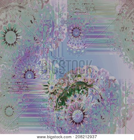 Abstract geometric background. Regular intricate round fantasy pattern pastel blue, pink, violet, purple and turquoise, ornate and dreamy.