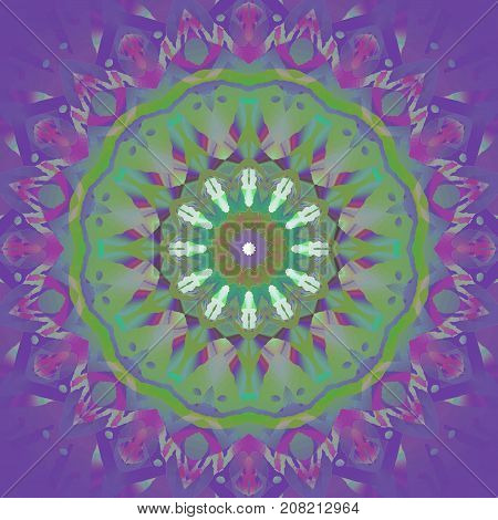 Abstract geometric background. Regular concentric round ornament in green, violet and purple shades.
