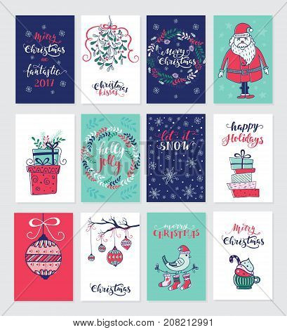 Vector Merry Christmas greeting cards and invitations  isolated on background. Set with cute xmas wreath, gift and Santa  hand drawn designs. Vector elements for Xmas design.