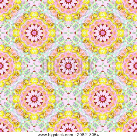 Abstract geometric seamless floral background. Regular round retro blossoms pink, violet, yellow, red, purple and mint green, ornate and dreamy.