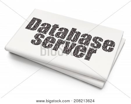 Database concept: Pixelated black text Database Server on Blank Newspaper background, 3D rendering