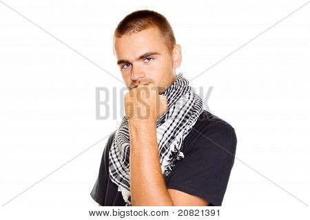 Young man  a Palestinian scarf