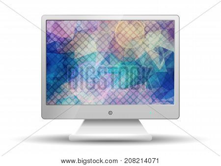 Flat tv with Modern Abstract Colorful Triangle Polygonal screen  isolated on white background