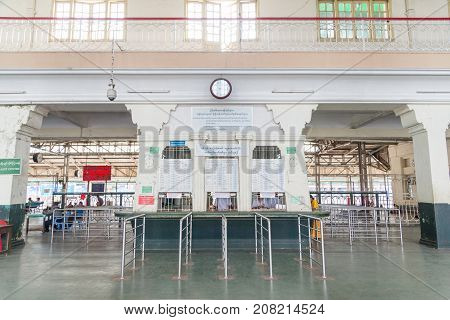 16 December 2016 myanmar yangon railway station at the Central Railway Station in Yangon Myanmar. Yangon is old capital city of myanmar and famous place for tourise and businesss