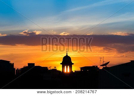mosque silhouette with beautiful sunset background.mosque is more than a place of worship study and discuss Islamcommunity centresteach about muslimreligious festivals or Weddings