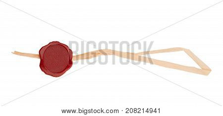 top view of empty red wax plastic seal with paper swing tag and copyspace isolated on white background