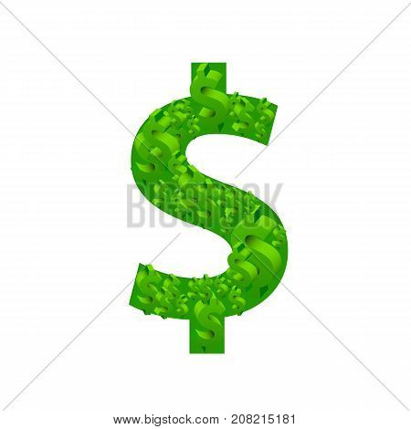 Dollar many sign on the white background. Vector illustration