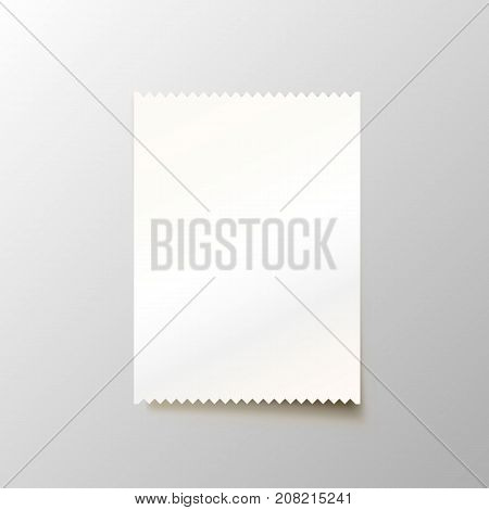 Paper blank cheque on the white background. Vector illustration