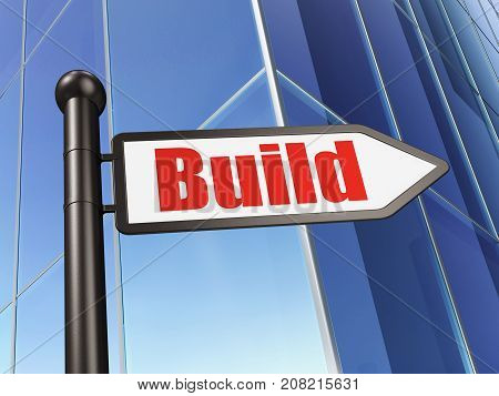 Building construction concept: sign Build on Building background, 3D rendering