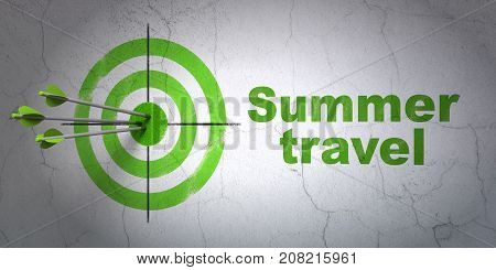 Success travel concept: arrows hitting the center of target, Green Summer Travel on wall background, 3D rendering