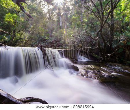 Slow shutter waterfall, near Halls Falls, on the east coast of Tasmania, Australia.