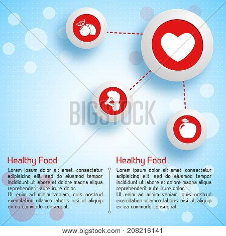 Infographic design template with healthy food icons useful for heart on blue light background