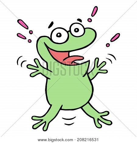 Cute lucky smiling green toad. Vector illustration. Cute cartoon happy character.