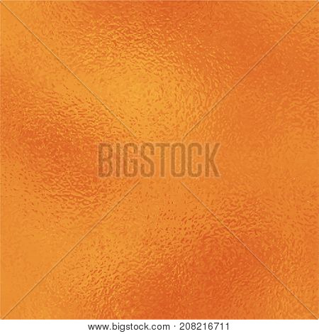 Metallic golden foil texture. Vibrant gold foil square vector background. Orange golden texture swatch. Golden foil backdrop for elegant wedding invitation. Bright orange wallpaper or banner template