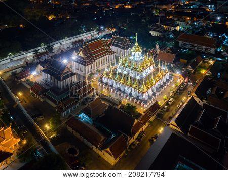 Wat Ratchanatdaram Temple the public temple in Bangkok; The most tourist destination landmark in Bangkok Thailand; Bangkok is the most populated city in Southeast Asia.