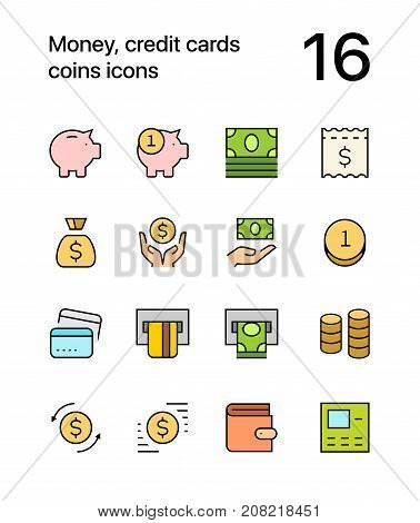 Colored Money, credit cards, coins icons for web and mobile design pack 1