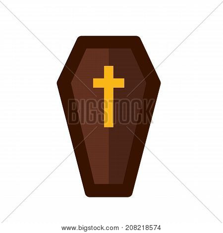 Coffin icon isolated. Coffin with cross. Vector stock.
