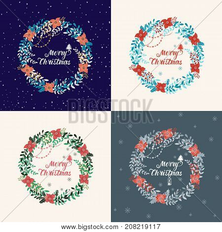 Vector set of circular floral wreath with winter Christmas flowers and lettering. Vector hand drawn wreath with flowers, garland and lettering. Merry Christmas night design.