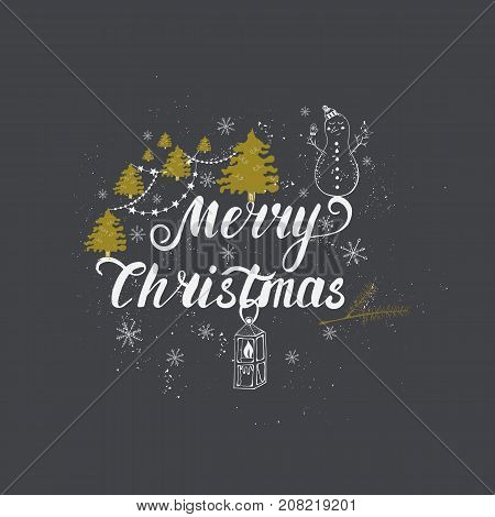 Vector Merry Christmas greeting card or invitations  isolated on background. Illustrations  with cute xmas tree, snowman and garland hand drawn designs. Vector elements for Xmas design.