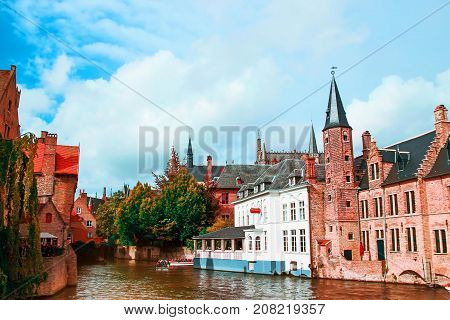 Rozenhoedkaai, Historic Centre of Bruges, Scenery with water canal, Venice of the North , cityscape of Flanders, Belgium.