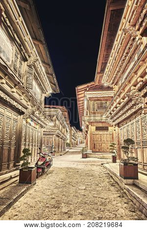 Empty Street Of Shangri La Old Town At Night, China.