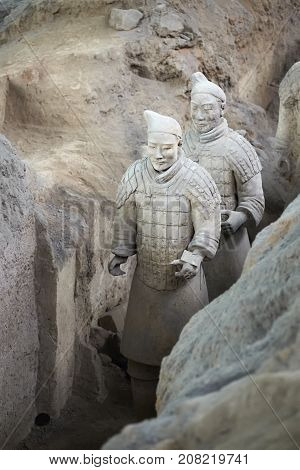 Xian China - October 4 2017: Terracotta Army Warriors at the archaeological site.Terracotta sculptures portraying armies of Qin Shi Huang the first Emperor of China.