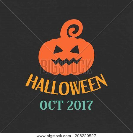 Halloween Pumpkin Emblem Template, Logo Badge. Design Elements for Posters, Party Invitations, Stickers, Gift Cards, T-shirt prints. Vector illustration