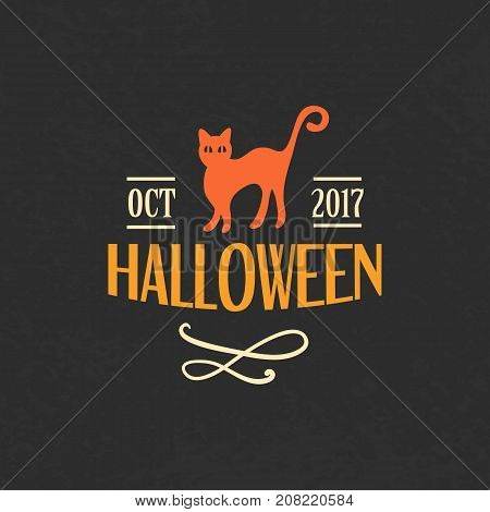 Halloween Emblem Template, Logo Badge. Design Elements for Posters, Party Invitations, Stickers, Gift Cards, T-shirt prints. Vector illustration
