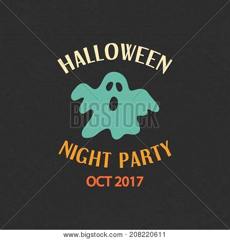 Halloween Party Emblem Template, Logo Badge. Design Elements for Posters, Invitations, Stickers, Gift Cards, T-shirt prints. Vector illustration