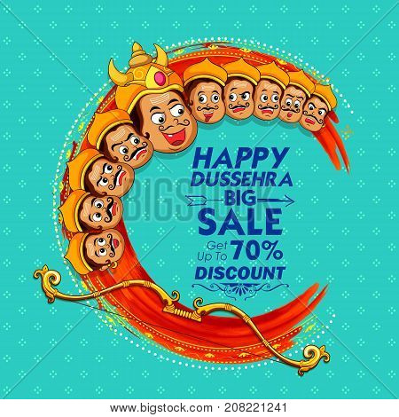illustration of Raavana with ten heads for sale promotion of Navratri Dussehra festival of India poster