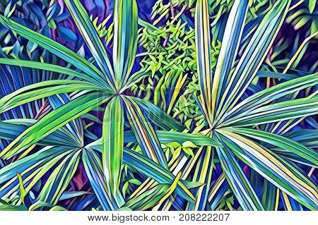Tropical leaf top view. Cartoon green leaf in exotic garden digital illustration. Natural leaf ornament. Potted houseplant. Vibrant floral decor. Exotic foliage plant card. Tropical banner background