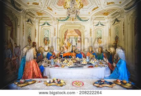 biblical scene representation (presepe) of the Last Supper of Jesus Christ (Sacro Monte di Varallo Piedmont Italy May 24 2017)
