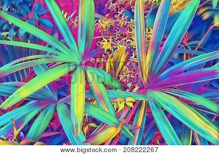 Tropical leaf top view. Neon palm leaf in exotic garden digital illustration. Natural leaf ornament. Potted houseplant. Vibrant floral decor. Exotic foliage plant artwork. Tropical banner background