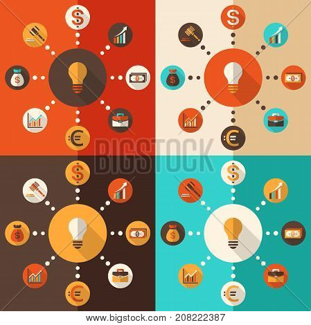 Flat design vector illustration with icons set of modern finance and business working elements