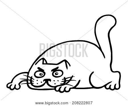 Fat cartoon cat preparing to attack. Vector illustration. Cheerful  pet hunter sketch.