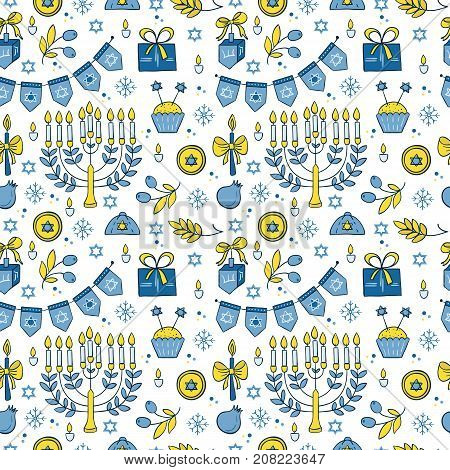 Vector Hanukkah seamless pattern with menorah, candles, donuts, garland, bow, cupcake, gifts, candles, dreidel, confetti, coins oil sufganiyah snowflakes and Jewish star Jewish holiday symbols
