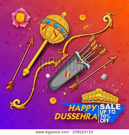 illustration of bow and arrow of Lord Rama and ten headed Ravana for Happy Dussehra Navratri sale promotion festival of India