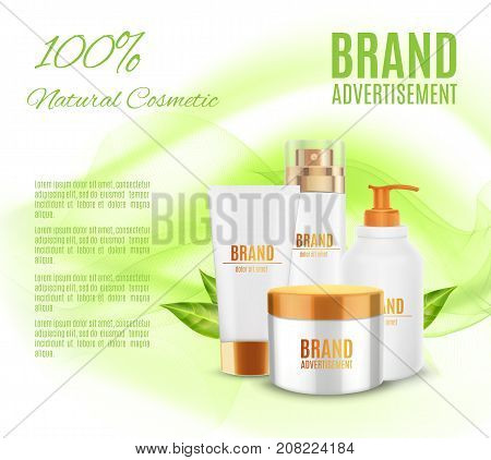 Natural cosmetic ads template. Realistic cosmetic container on a green background with green leaves. Natural cosmetic concept. 3d illustration. Design for ads or magazine. EPS10 vector