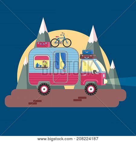 Mobile recreation. House on wheels. Transport trailer vector with the luggage, bright colors. Flat style. Night road, mountains and big moon. Romantic evening.