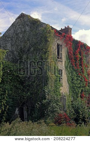The old abandoned house is overgrown ivy. Méry-sur-Oise Île-de-France. September 23 2017. Editorial photo