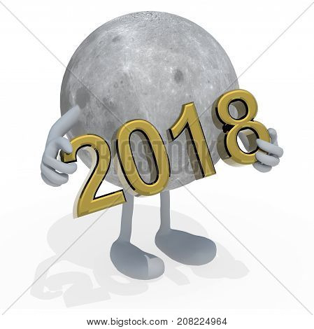 Moon Planet With Arms, Legs And The 3D Inscription 2018