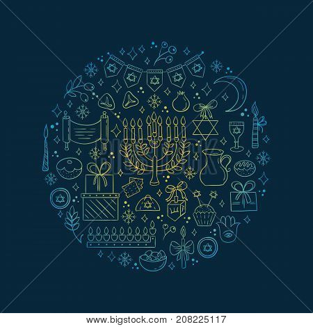 Vector set of Hanukkah design outline elements made in circle. Menorah, wreath, candles, donuts, garland, bow, gifts, candles, dreidel, confetti coins oil sufganiyan snowflakes and Jewish star