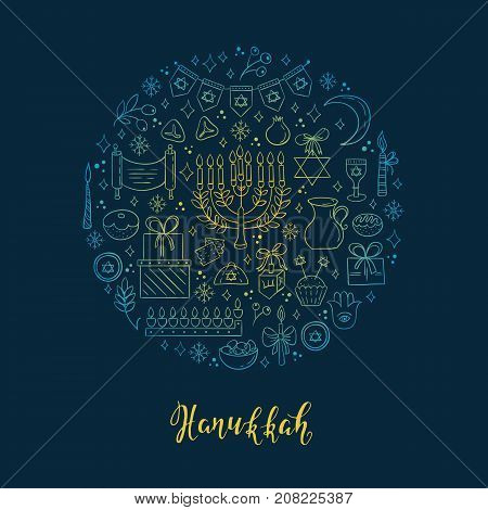 Vector set of Hanukkah design outline elements made in circle. Menorah, wreath, candles, donuts, garland, bow, gifts, candles, dreidel, confetti, coins oil sufganiyan snowflakes and Jewish star
