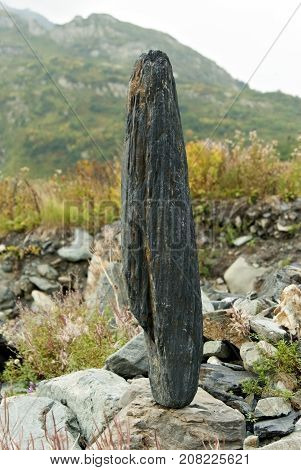 oblong boulder standing vertically on another stone against a background of a blurred landscape