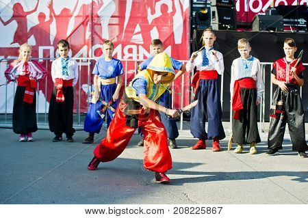 Ternopil, Ukraine - October 1, 2017: Ukrainian Cossacks Kids At Podolyany Show.