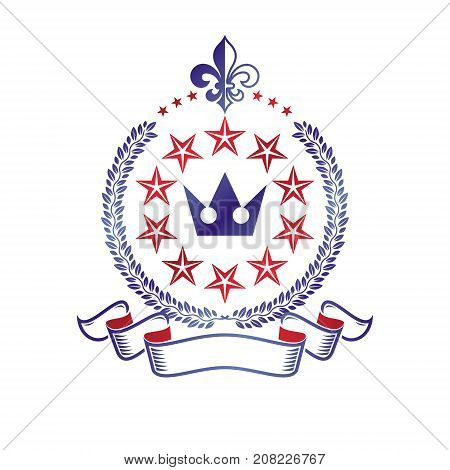 Royal Crown emblem. Heraldic vector design element. Retro style label heraldry logo. Antique logotype isolated on white background.