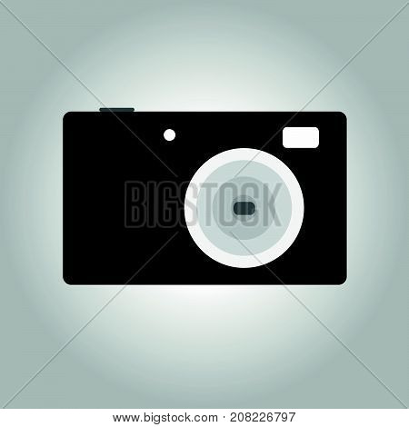 Photocamera icon, compact version. Flat illustration of photocamera vector icon for web